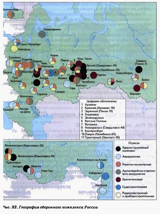 География оборонного комплекса России