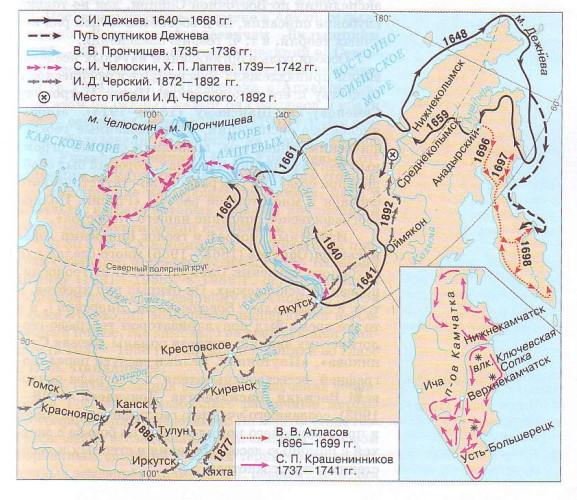 Изучение территории Сибири и Камчатки