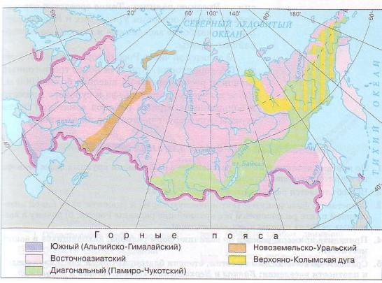 Горы на территории России приурочены к подвижным участкам земной коры и протягиваются несколькими узкими полосами