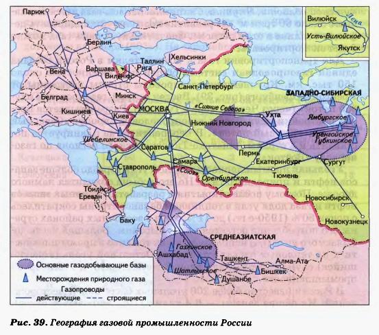 География газовой промышленности России