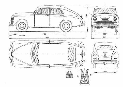 Автомобиль GAZ M20: фото эскиз чертеж-схемы авто.