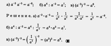свойства степеней с отрицательным знаком