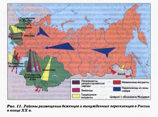 Районы перемещения беженцев и вынужденных переселенцев в России в конце ХХ в.