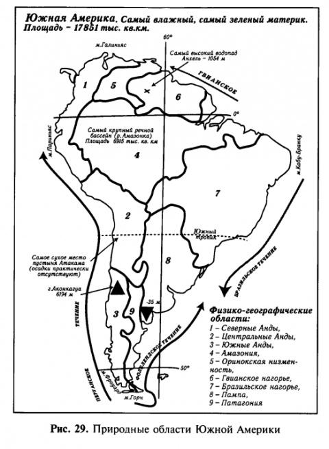 Природные области Южной Америки