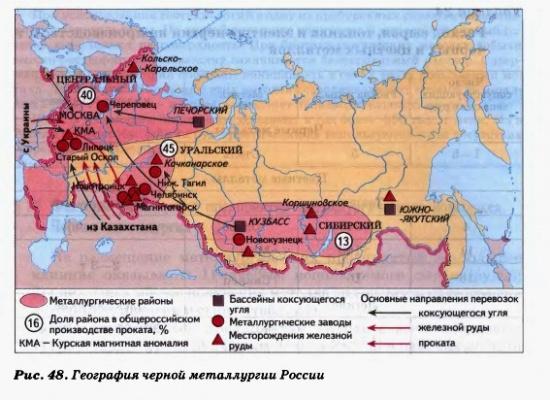 география черной металлургии России