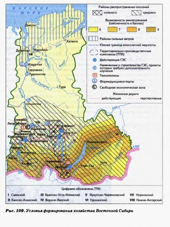 Условия формирования хозяйства Восточной Сибири