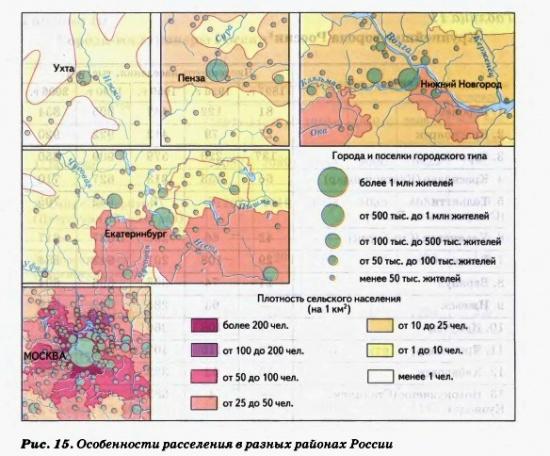 Особенности расселения в разных районах России